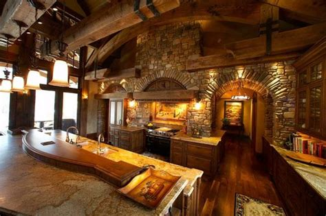 beautiful log home kitchen country living pinterest