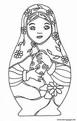 Coloring Dolls Russian Printable sketch template