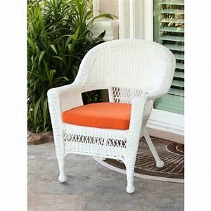 36, U0026quot, White, Resin, Wicker, Outdoor, Patio, Garden, Chair, With, Orange, Cushion, -, Walmart, Com