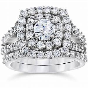 2 carat diamond cushion halo engagement wedding ring set for Wedding and engagement ring set