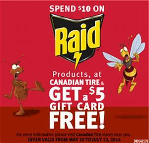 Spend $10 on Raid and get a FREE $5 Gift Card