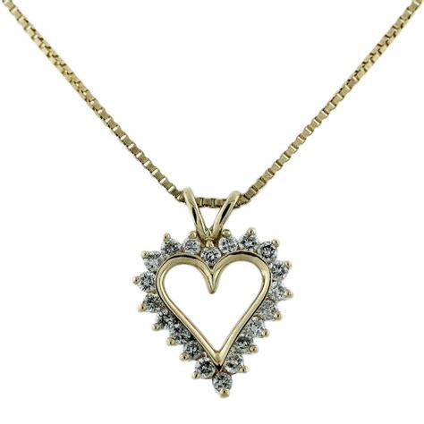 yellow gold diamond heart pendant chain necklace boca