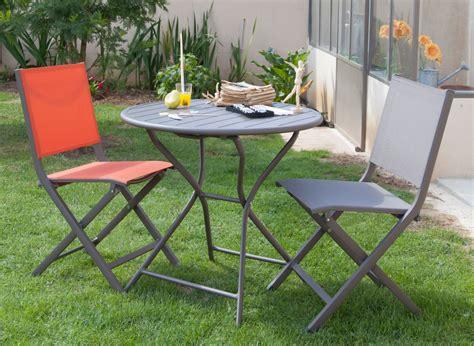 table ronde et chaises salon jardin guéridon ø80cm 2 chaises pliantes proloisirs