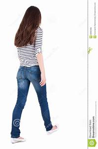 Back View Of Walking Woman In Jeans Stock Image - Image 30893485