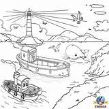 Rescue Coloring Thomas Friends Drawing Island Train Lifeboat Sea Helicopter Drawings Colouring Harbour Sodor Captain Colour Misty Tank Sheets Scenic sketch template