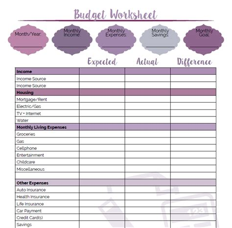 Printable Budget Worksheet  Little Us
