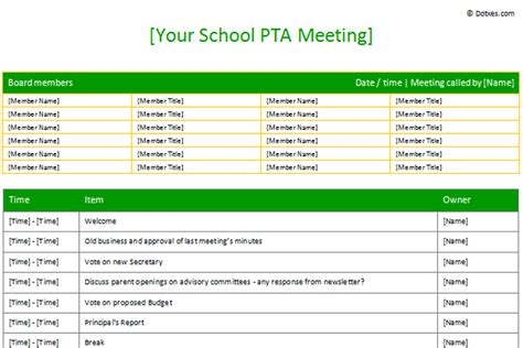 pta sample meeting agenda template table form dotxes
