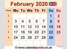 Calendar February 2020 UK, Bank Holidays, ExcelPDFWord