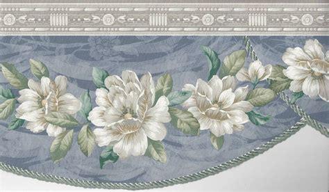 wallpaper border magnolia floral blue swag  die cut