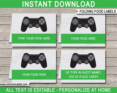 playstation party printables invitations decorations