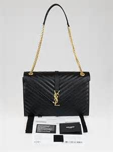 yves saint laurent black quilted grained leather large monogram chain bag yoogis closet