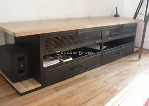 Meuble Tv Metal : meubles tv industriel et design style loft m tal et bois ~ Teatrodelosmanantiales.com Idées de Décoration