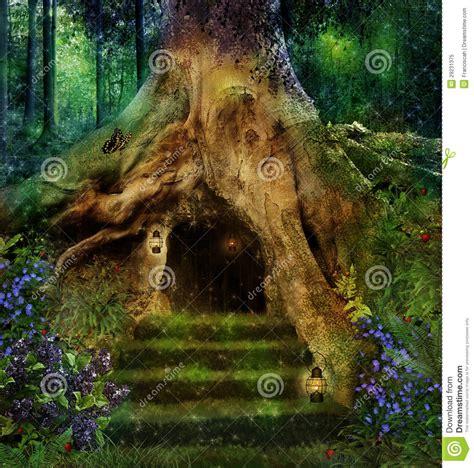 house   tree stock image image  goblins fairy