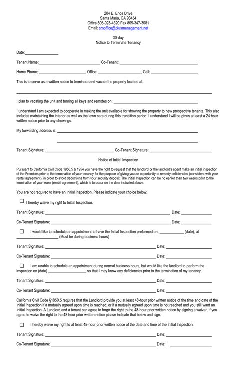 Renters 30 Day Notice Template by 10 Best Images Of California 30 Day Notice Template 60