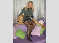 Hot wife in knitted dress and black pantyhose without