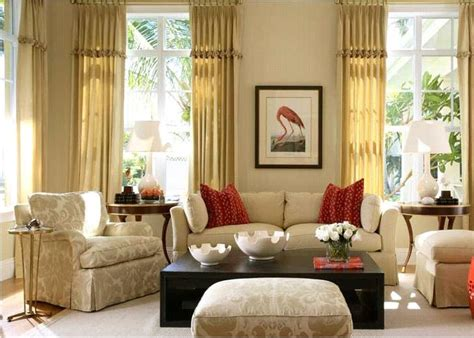 Red And Beige Living Room Ideas :  Ivory Sofa, Red Pillows