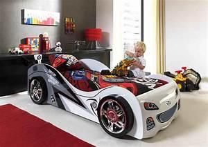 Lit Voiture Garcon : lit enfant voiture coloris blanc pole position lit ~ Melissatoandfro.com Idées de Décoration
