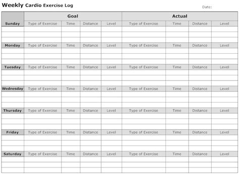 Weekly Fitness Plan Template by 7 Best Images Of Weekly Exercise Log Printable Printable