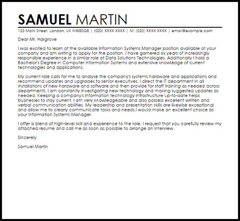 Information Systems Manager Cover Letter Sample