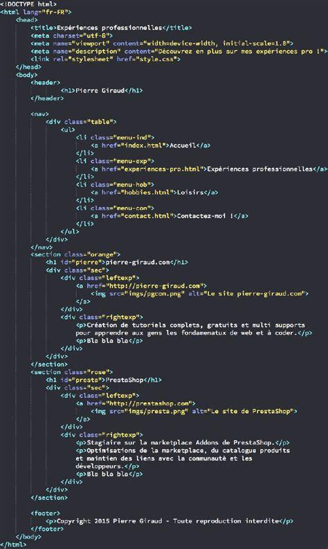 Resume Css Code by Cr 233 Ation Des Pages De Notre Site Html Et Css