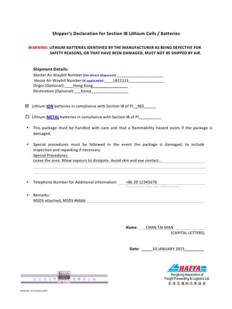 section ib declaration form  sampledocx section