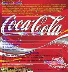 coca cola here team phone number coca cola mail fraud
