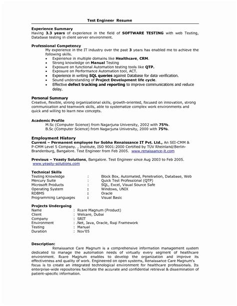 Experience Resume by For 5 Years Experience In Testing 3 Resume Format