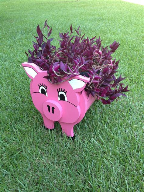 wooden animal planter pig  cutsncrafts  etsy cuts