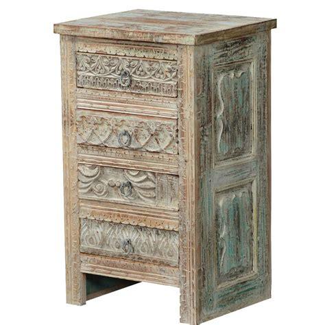 Mango Wood Nightstand by Tudor Winter White Rustic Mango Wood 4 Drawer Nightstand