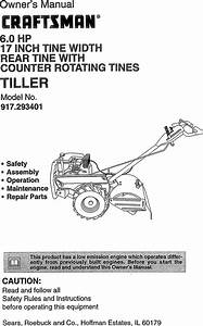 Craftsman 917293401 User Manual Rear Tine Tiller Manuals