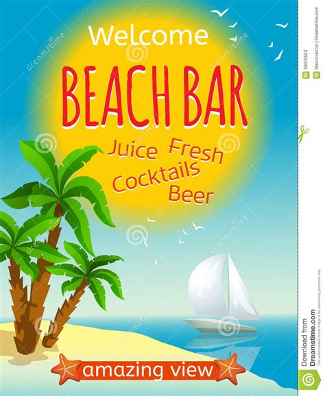 Yacht Juice by Bar Poster Stock Vector Image 59075504