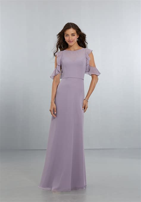 chiffon bridesmaids dress with flounced sleeve detail and