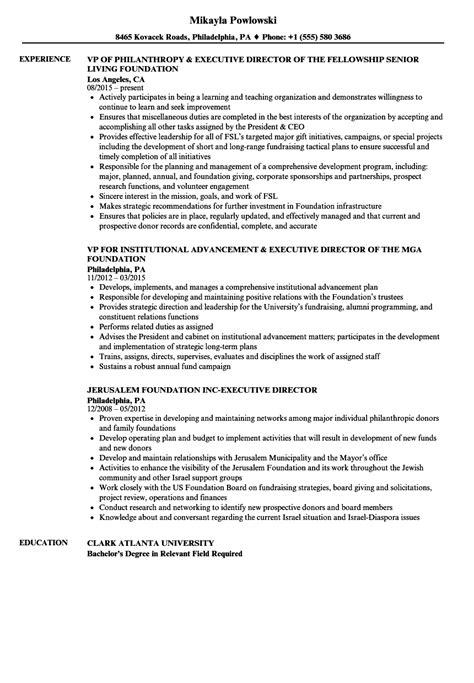 Executive Director Resume by Foundation Executive Director Resume Sles Velvet