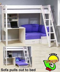 bunkbedwithfutonanddesk thuka maxi maxi white 7 loft With loft bed with sofa and desk underneath