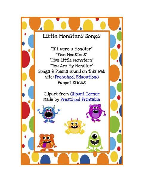 preschool printables free monsters songs amp puppet 267 | ad9f513e7f264ad14780ef4a93a8bf8c preschool songs preschool printables
