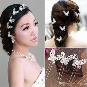 2018 Shinning Butterfly Hair Pins Clips Rhinestone Pearl