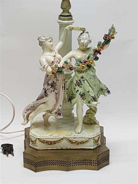 antique porcelain figurine table ls antique 19c possibly meissen german two maiden