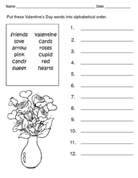 Permalink to Valentines Day Alphabetical Order Worksheet