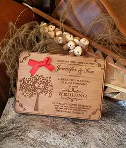 engraved wood wedding invitation rustic handmade wedding With wedding invitations made of wood