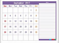 Printable 2017 Calendar Templates September PDF, PNG