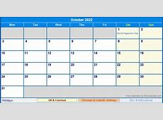 October 2022 UK Calendar with Holidays for printing image