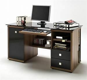 Schreibtisch Glas Schwarz : schreibtisch home office walnuss glas schwarz ebay ~ Whattoseeinmadrid.com Haus und Dekorationen