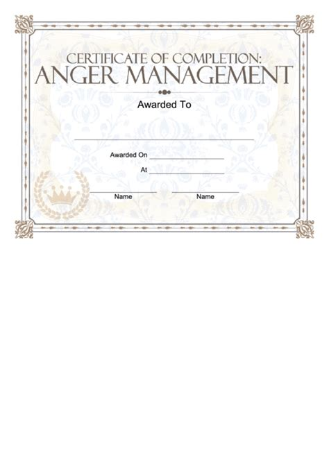 Anger Management Certificate Template by Anger Management Certificate Printable Pdf
