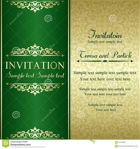 baroque invitation gold  green stock vector image