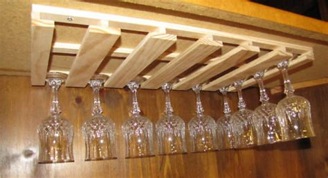 24 wine glass stemware wood holder rack under cabinet bar