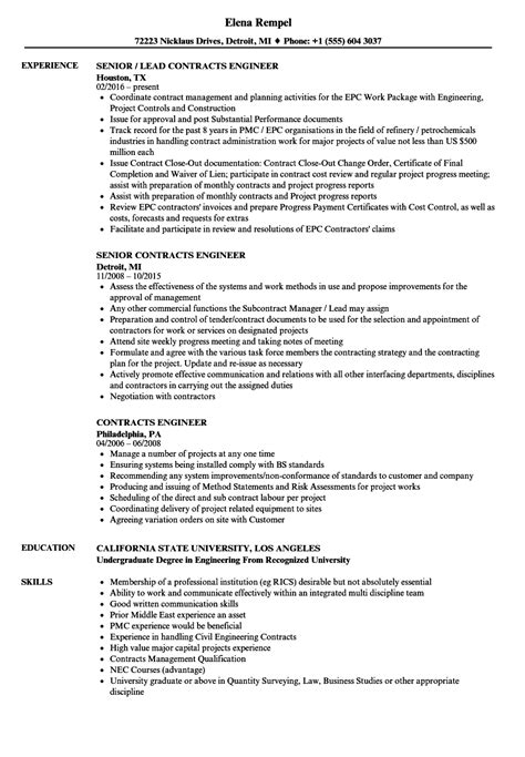 Contract Administrator Cv by Contract Work Resume Exles