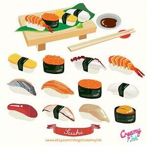 Japanese Sushi Digital Vector Clip art/ Japan Food Digital ...
