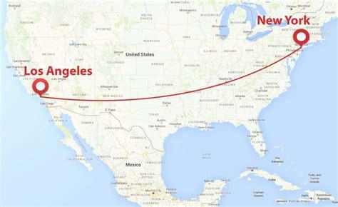 Distance Entre New York Et Los Angeles los angeles new york distance avion