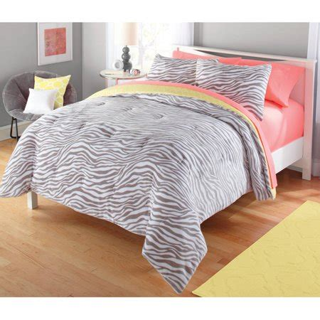 walmart bed comforters your zone gray and yellow zebra comforter set walmart
