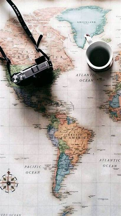 Travel Iphone Map Coffee Wallpapers Wallpaperaccess Backgrounds